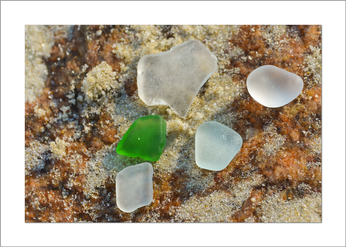 5x7 Photo Card: Sea Glass Green and White