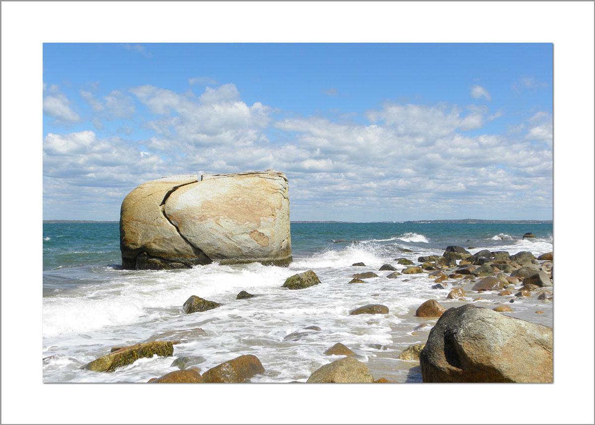 5x7 Photo Card: Split Rock with Waves