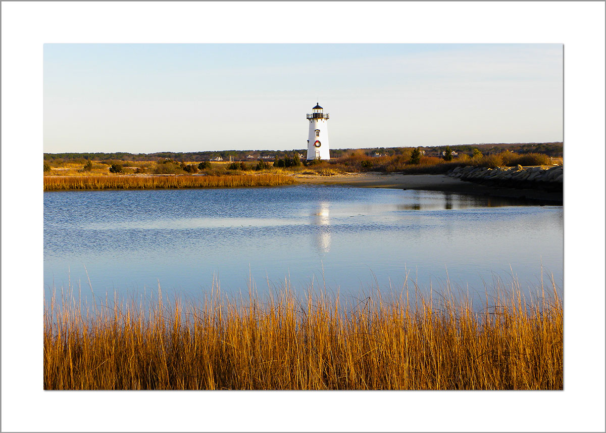 5x7 Photo Card: Edgartown Light with Wreath Reflection