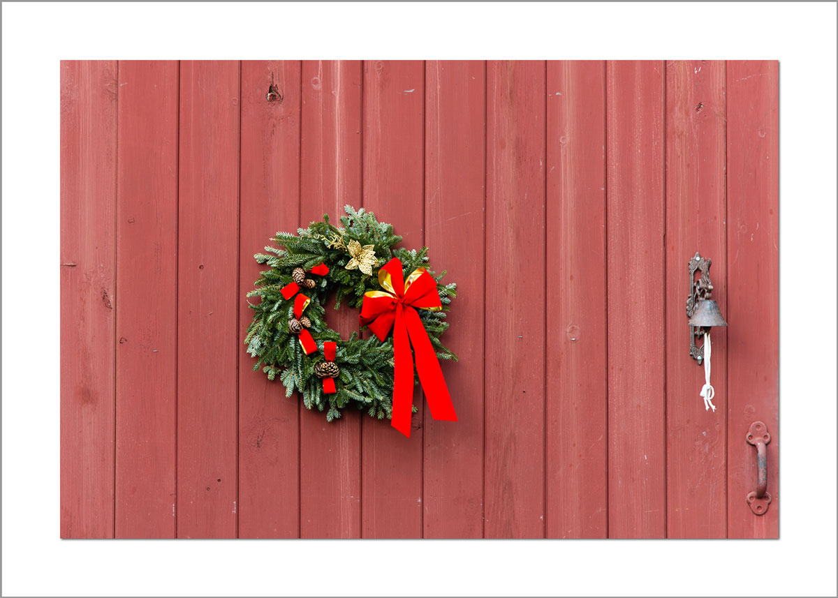 5x7 Photo Card: Red Barn with Wreath
