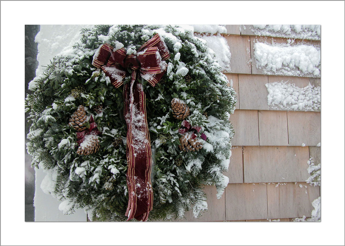 5x7 Photo Card: Snowy Wreath