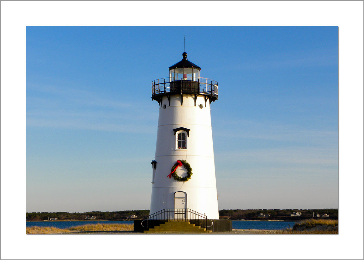 5x7 Photo Card: Wreath on Edgartown Light