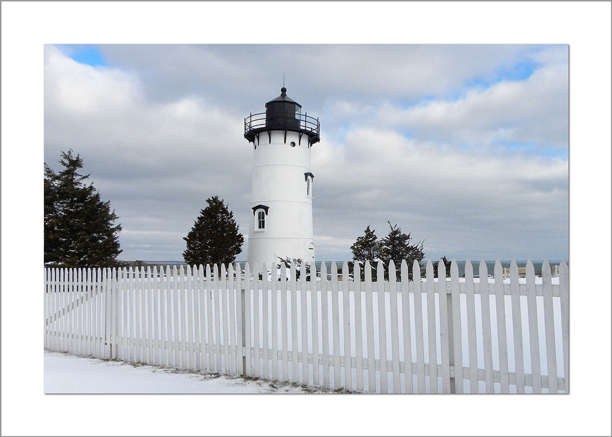 5x7 Photo Card: East Chop Lighthouse in the Snow