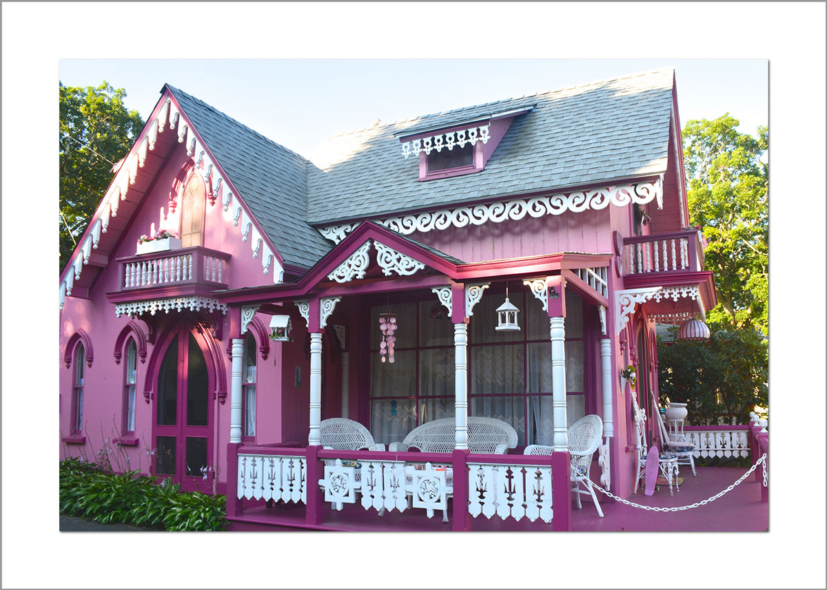 5x7 Photo Card: Pink House Oak Bluffs Campground