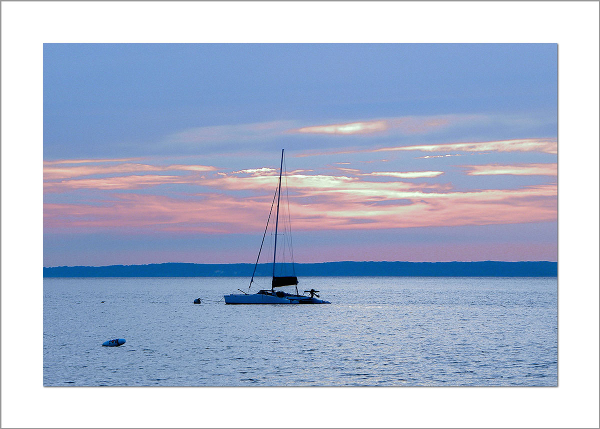 5x7 Photo Card: Lambert's Cove Sunset with Boat