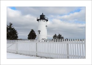 5x7 Photo Card: East Chop Lighthouse in Snow