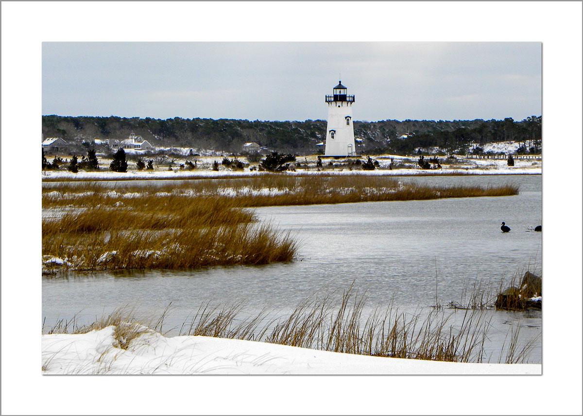 5x7 Photo Card: Edgartown Lighthouse in Snow