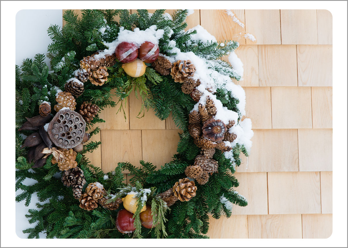 Boxed Gift Enclosures: Snowy Wreath on Shingles (Box of 5)