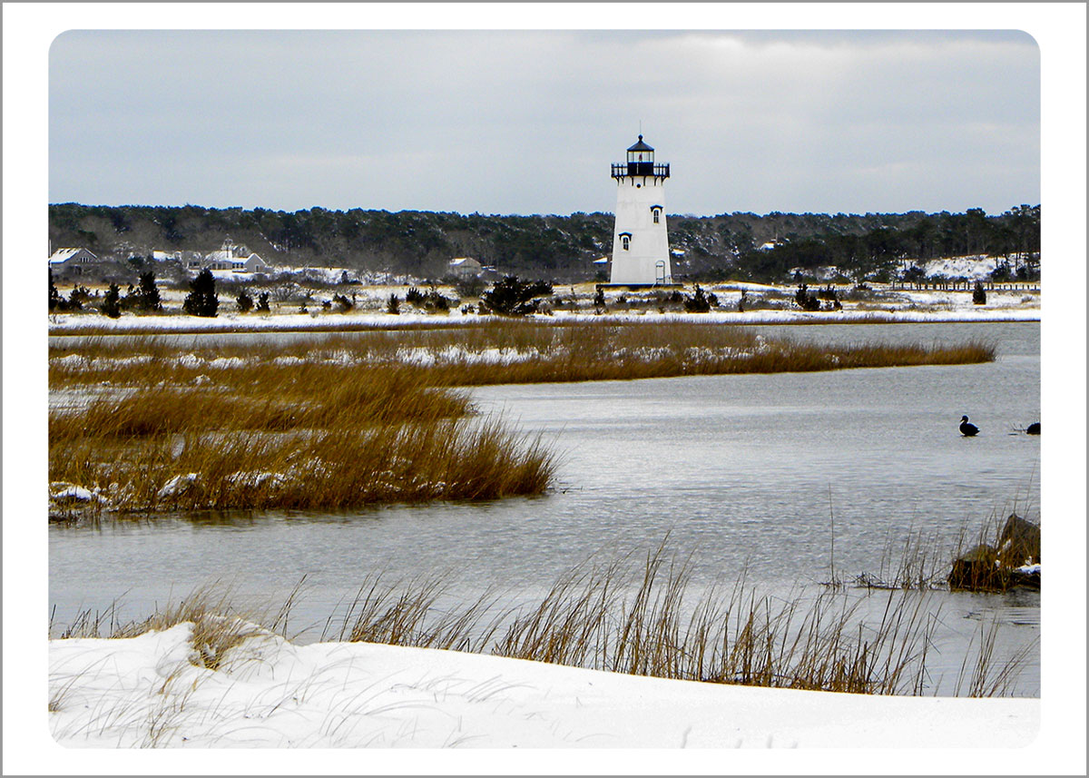 Boxed Gift Enclosures: Edgartown Lighthouse in Snow (Box of 5)