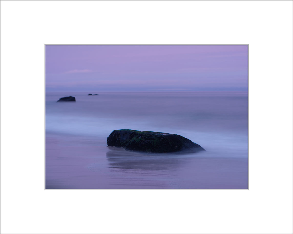 Matted 5x7 Photo: Lucy Vincent Beach Purple Rocks