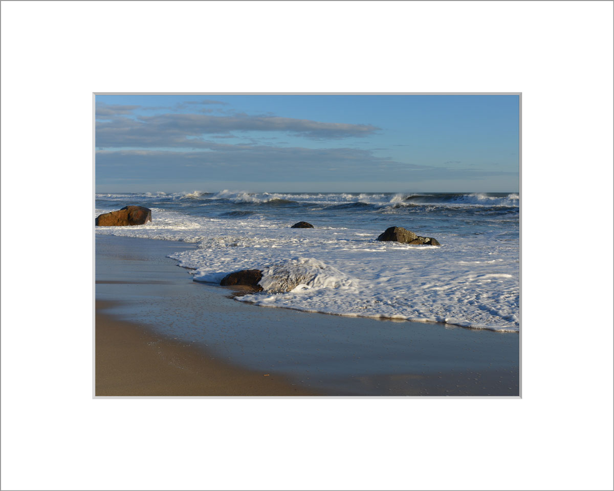 Matted 5x7 Photo: Lucy Vincent Beach Rocks and Waves