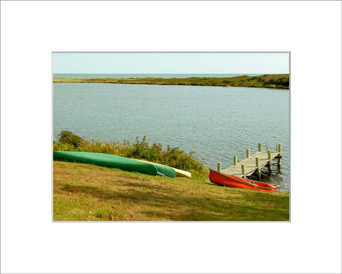 Matted 5x7 Photo: Kayaks at Chilmark Pond
