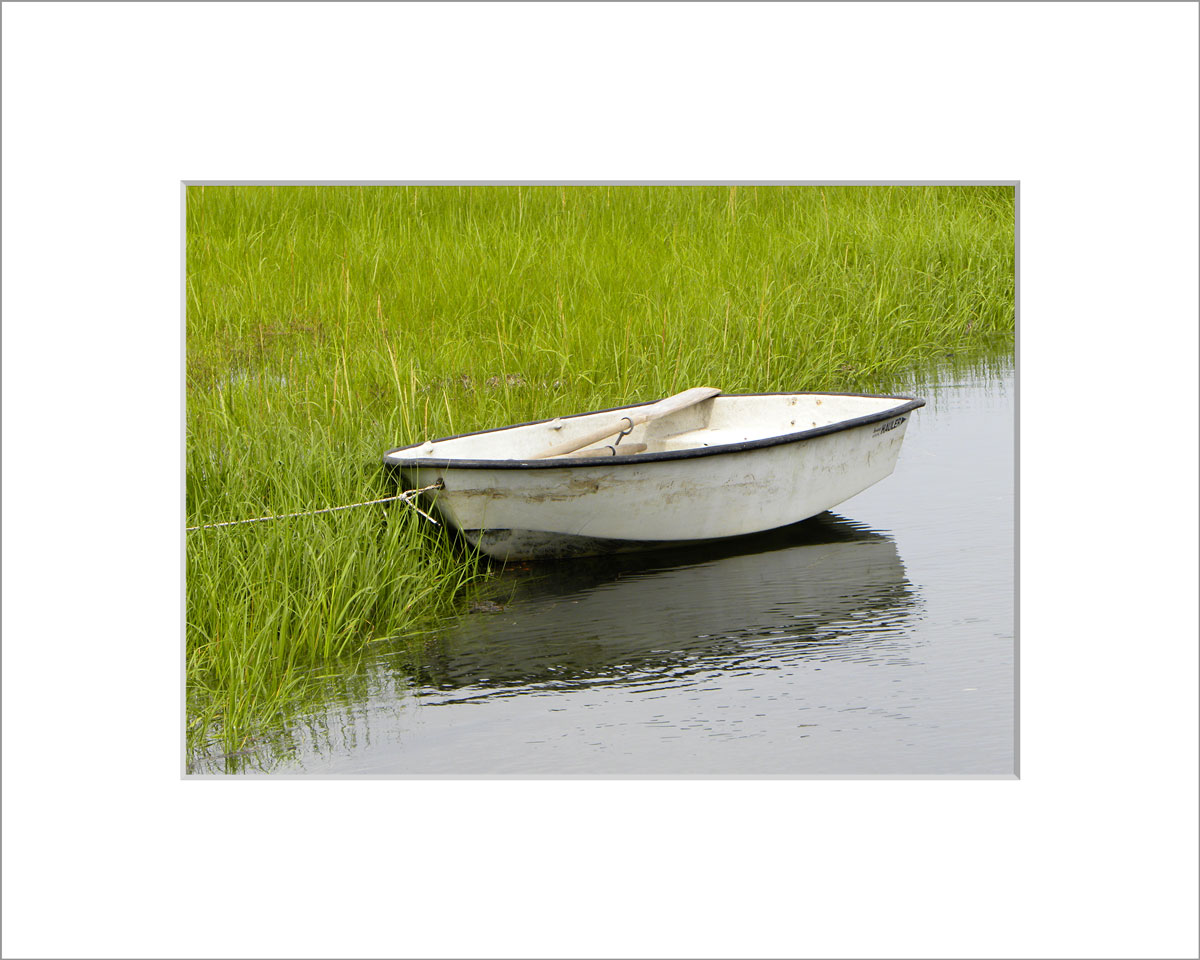Matted 5x7 Photo: Menemsha White Boat