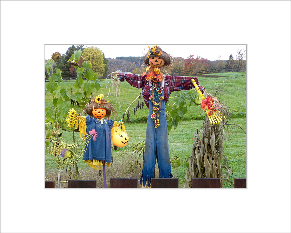 Matted 5x7 Photo: Father and Daughter Scarecrow