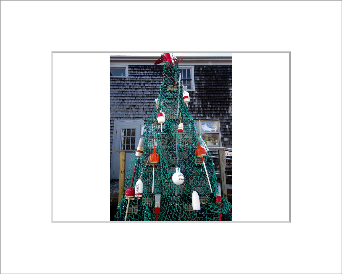 Matted 5x7 Photo: Buoy Christmas Tree