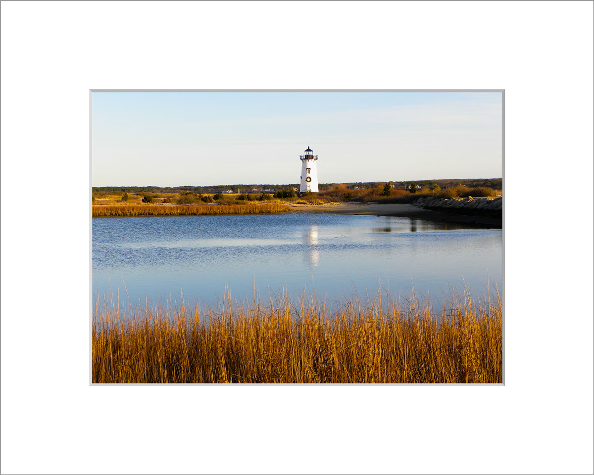 Matted 5x7 Photo: Edgartown Light with Wreath Reflection