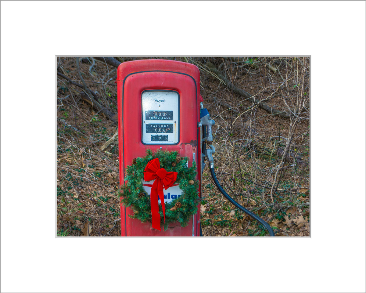Matted 5x7 Photo: Gas Pump with Wreath