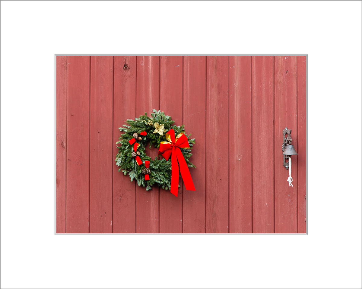 Matted 5x7 Photo: Red Barn with Wreath