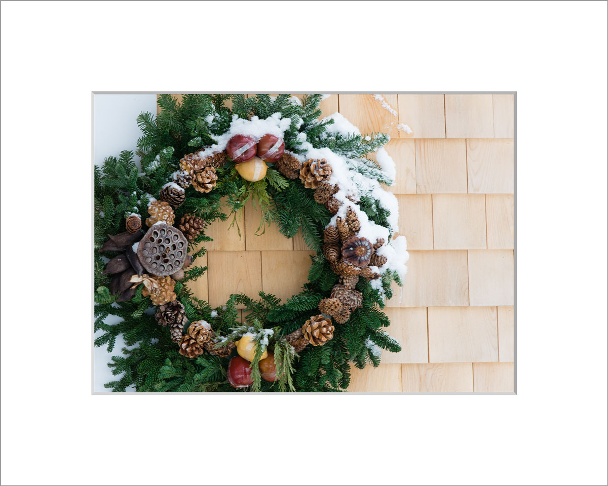 Matted 5x7 Photo: Snowy Wreath on Shingles