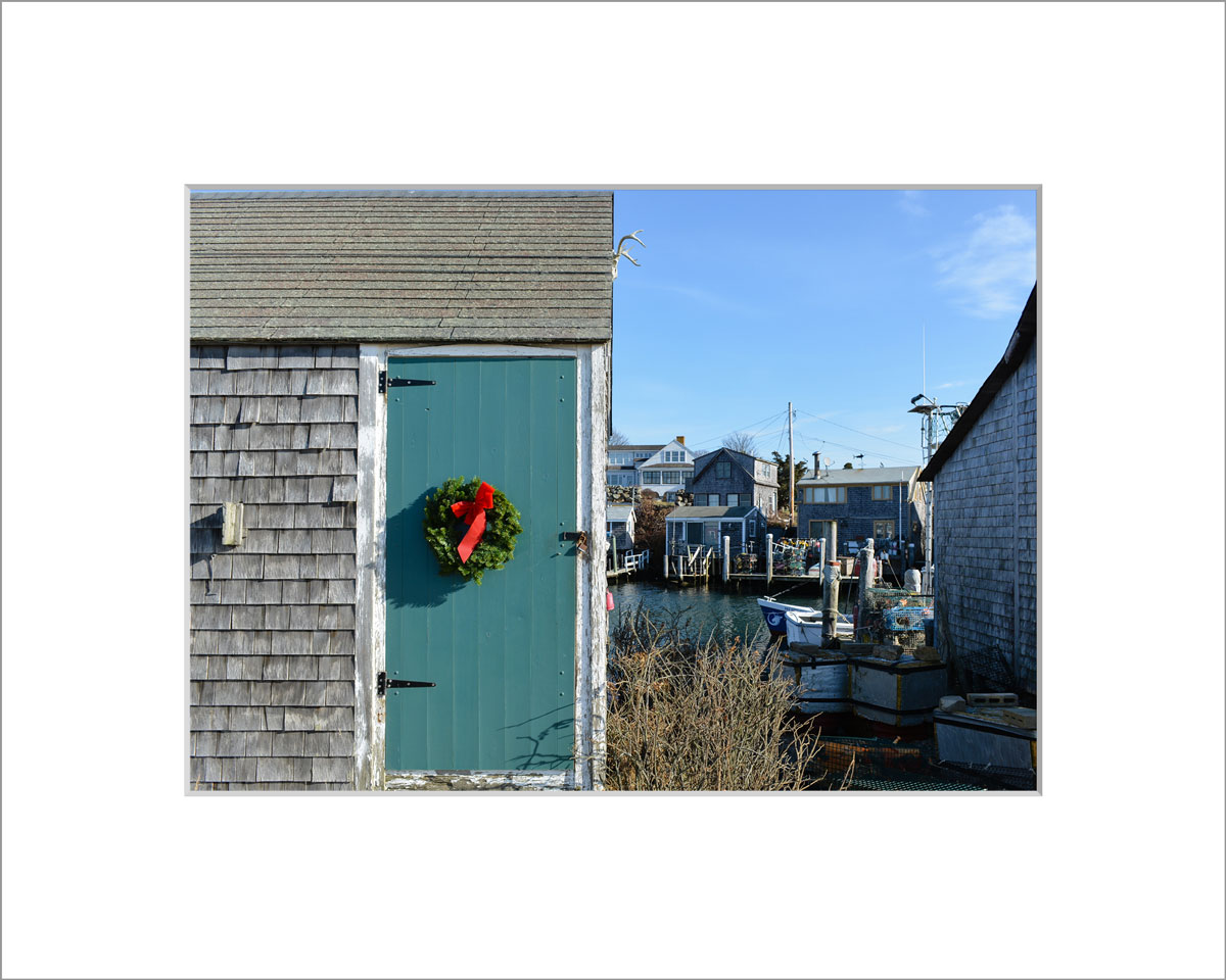 Matted 5x7 Photo: Wreath on Fishing Shack
