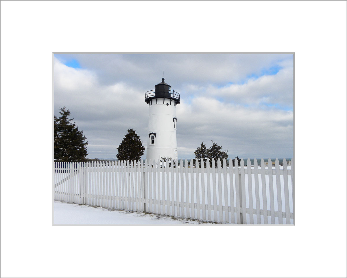 Matted 5x7 Photo: East Chop Lighthouse in the Snow
