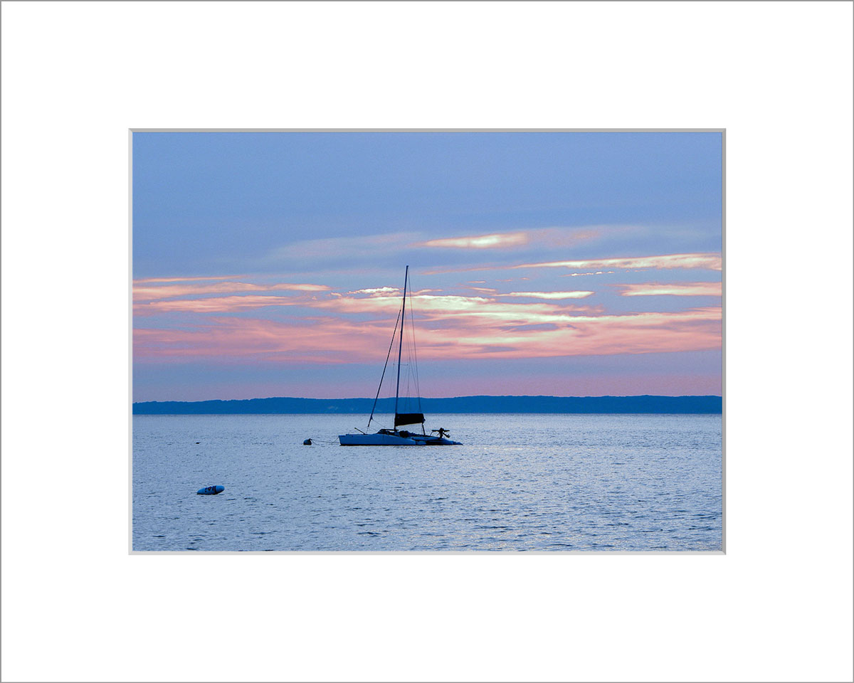 Matted 5x7 Photo: Lambert's Cove Sunset with Boat