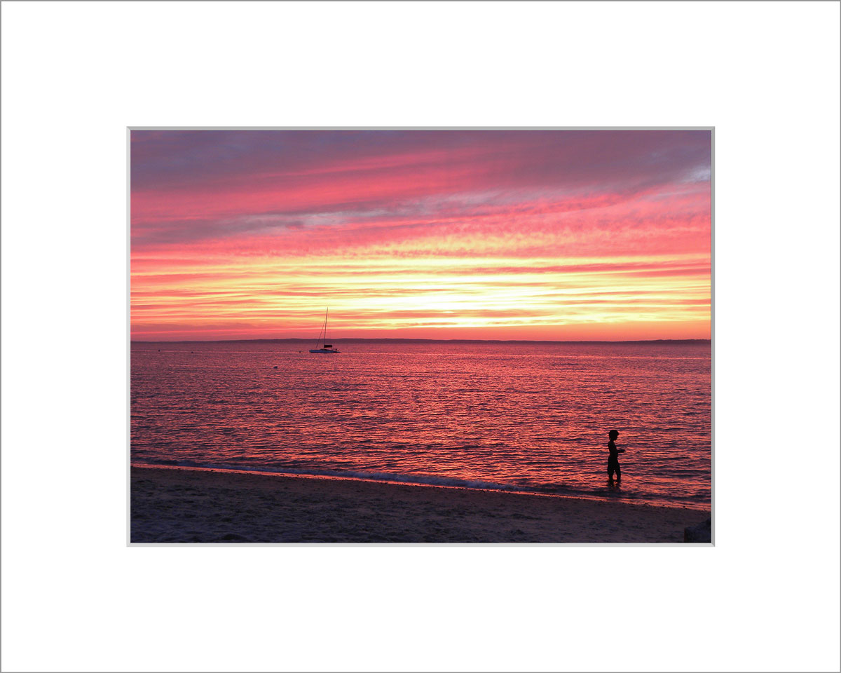 Matted 5x7 Photo: Lambert's Cove Sunset with Boy