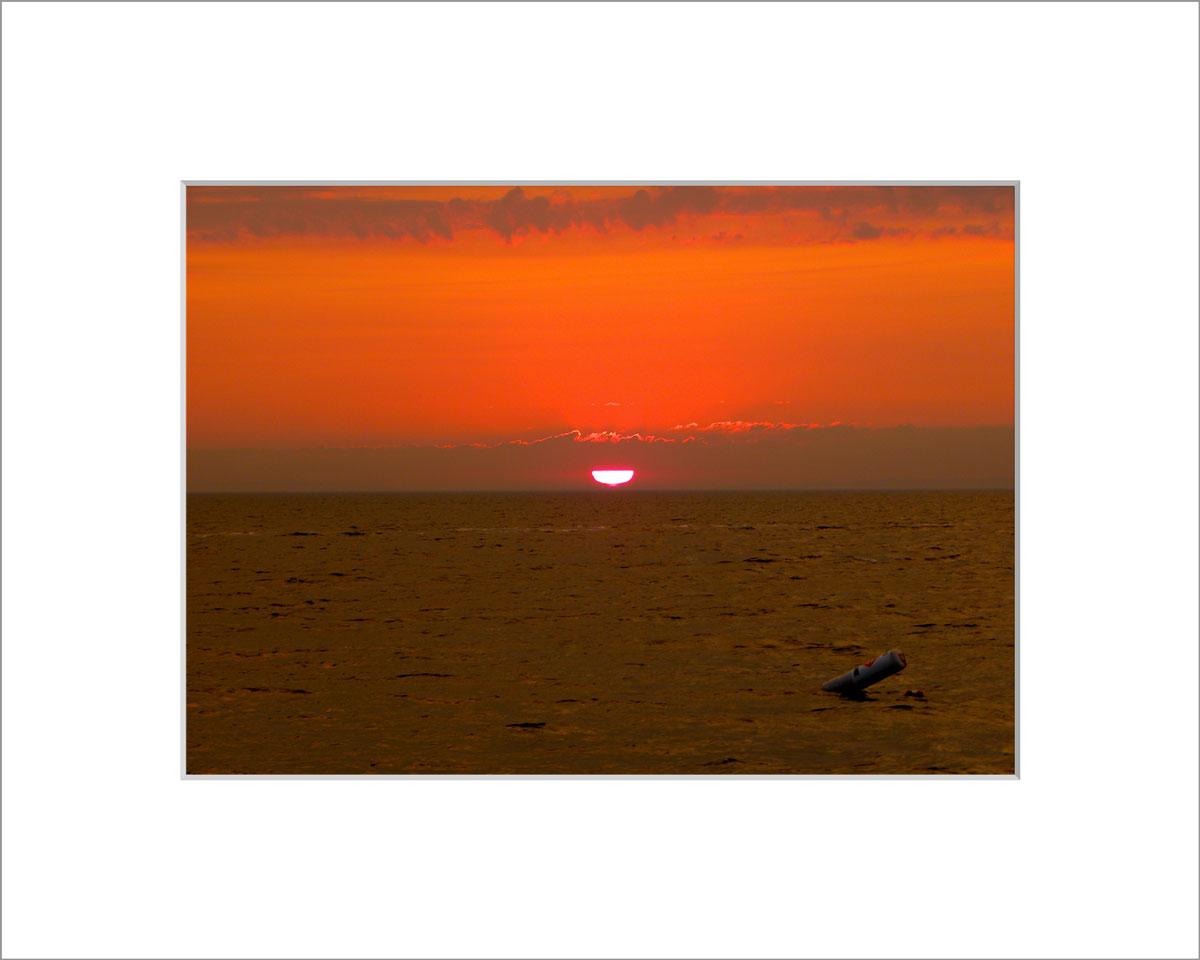 Matted 5x7 Photo: Menemsha Sunset Orange