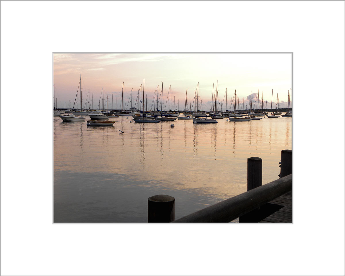 Matted 5x7 Photo: Sunrise Vineyard Haven Harbor