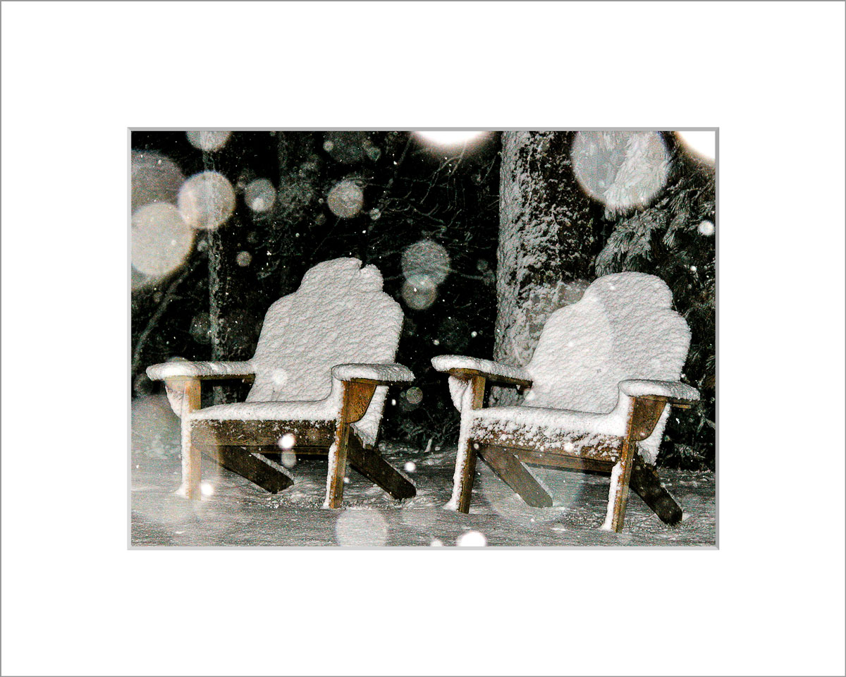 Matted 5x7 Photo: Chairs in Snow