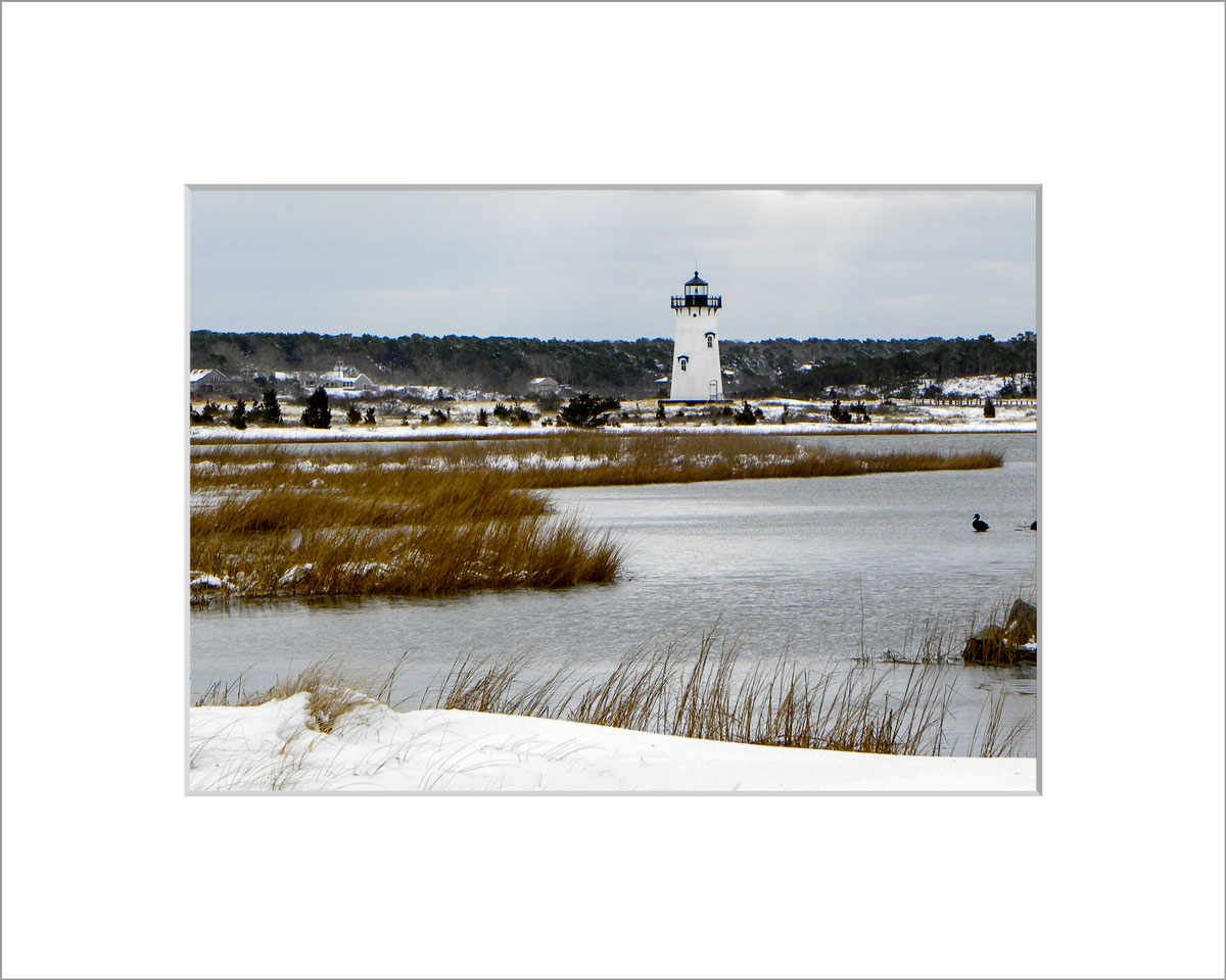 Matted 5x7 Photo: Edgartown Lighthouse in Snow