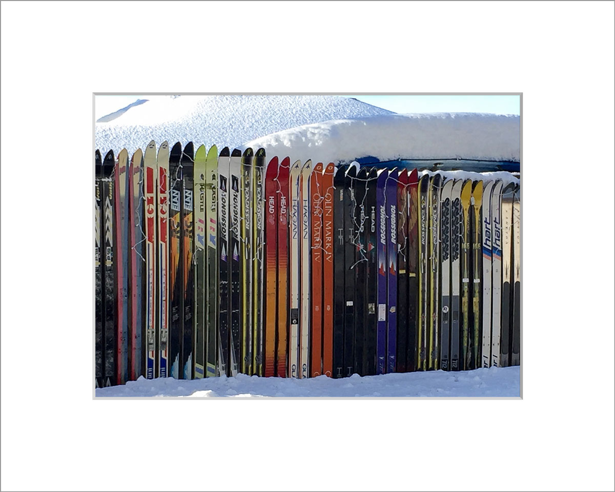 Matted 5x7 Photo: Skiing Down Barnes Road