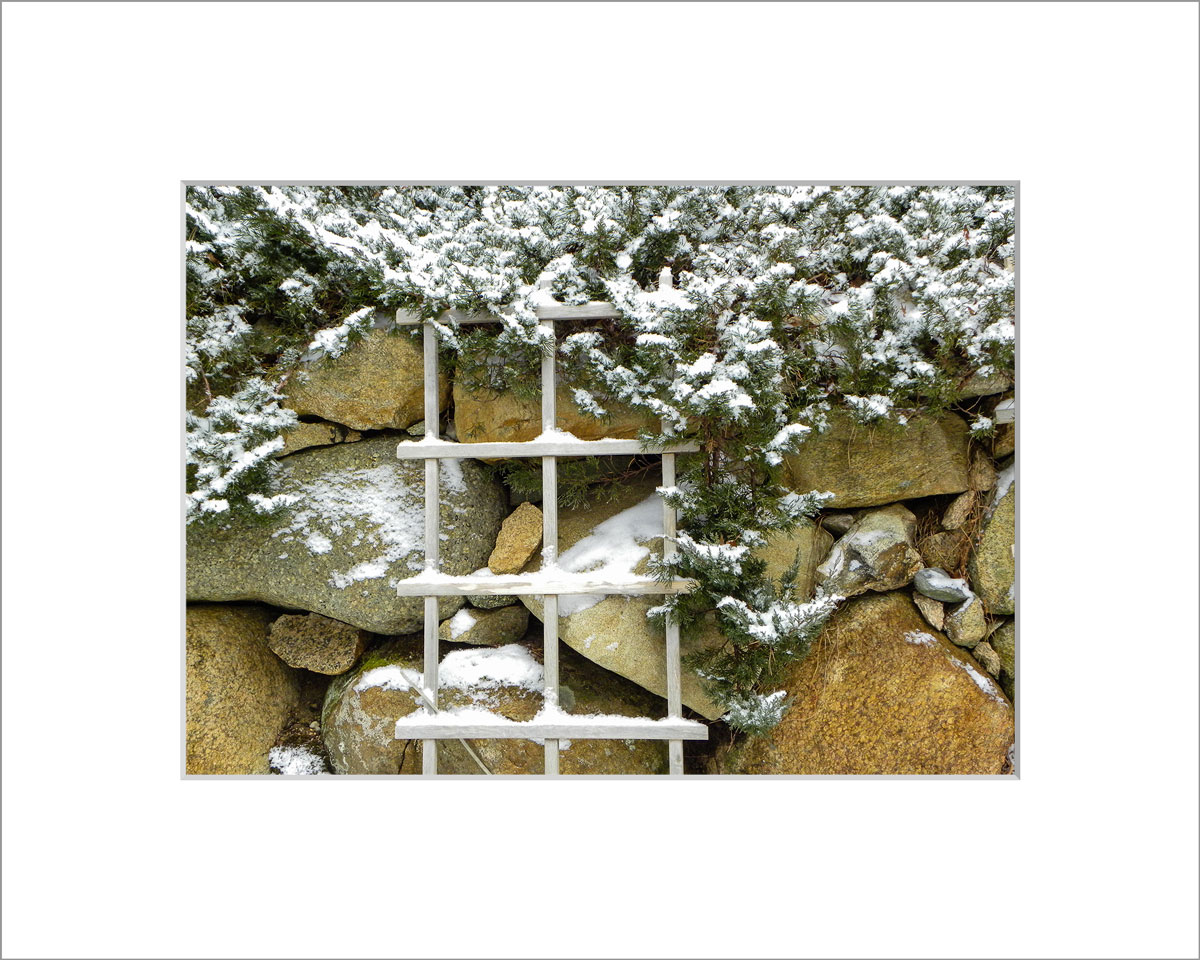 Matted 5x7 Photo: Snowy Stone Wall
