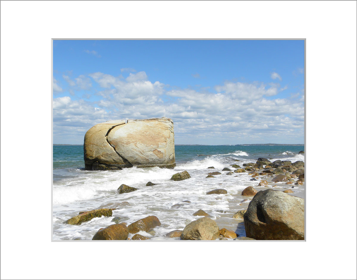 Matted 8x10 Photo: Split Rock with Waves