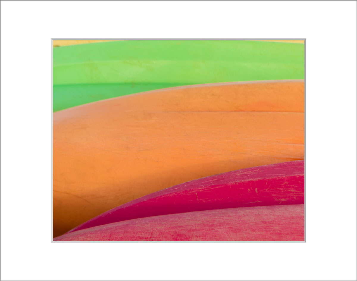 Matted 8x10 Photo: Colored Kayaks