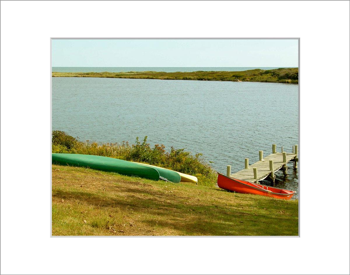 Matted 8x10 Photo: Kayaks at Chilmark Pond
