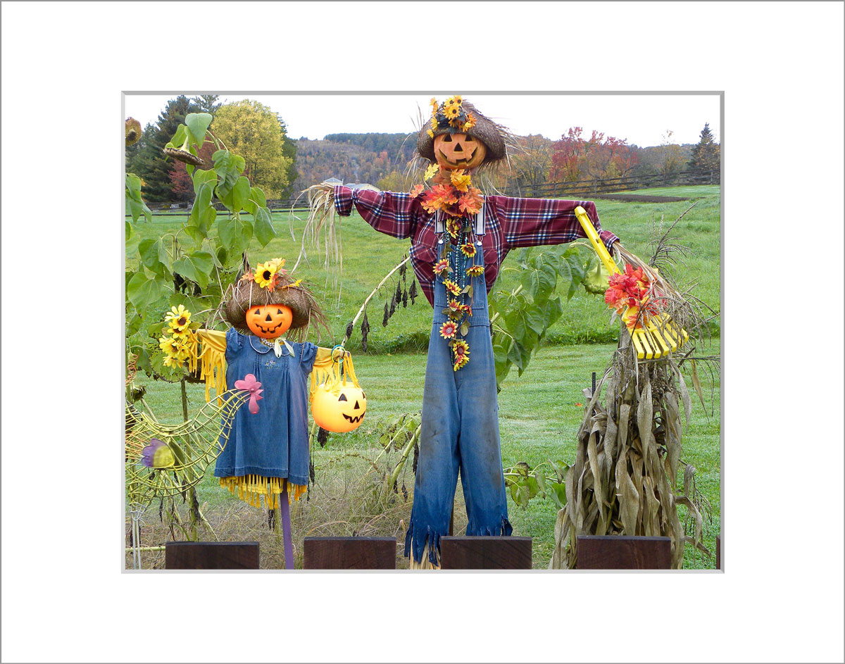 Matted 8x10 Photo: Father and Daughter Scarecrow