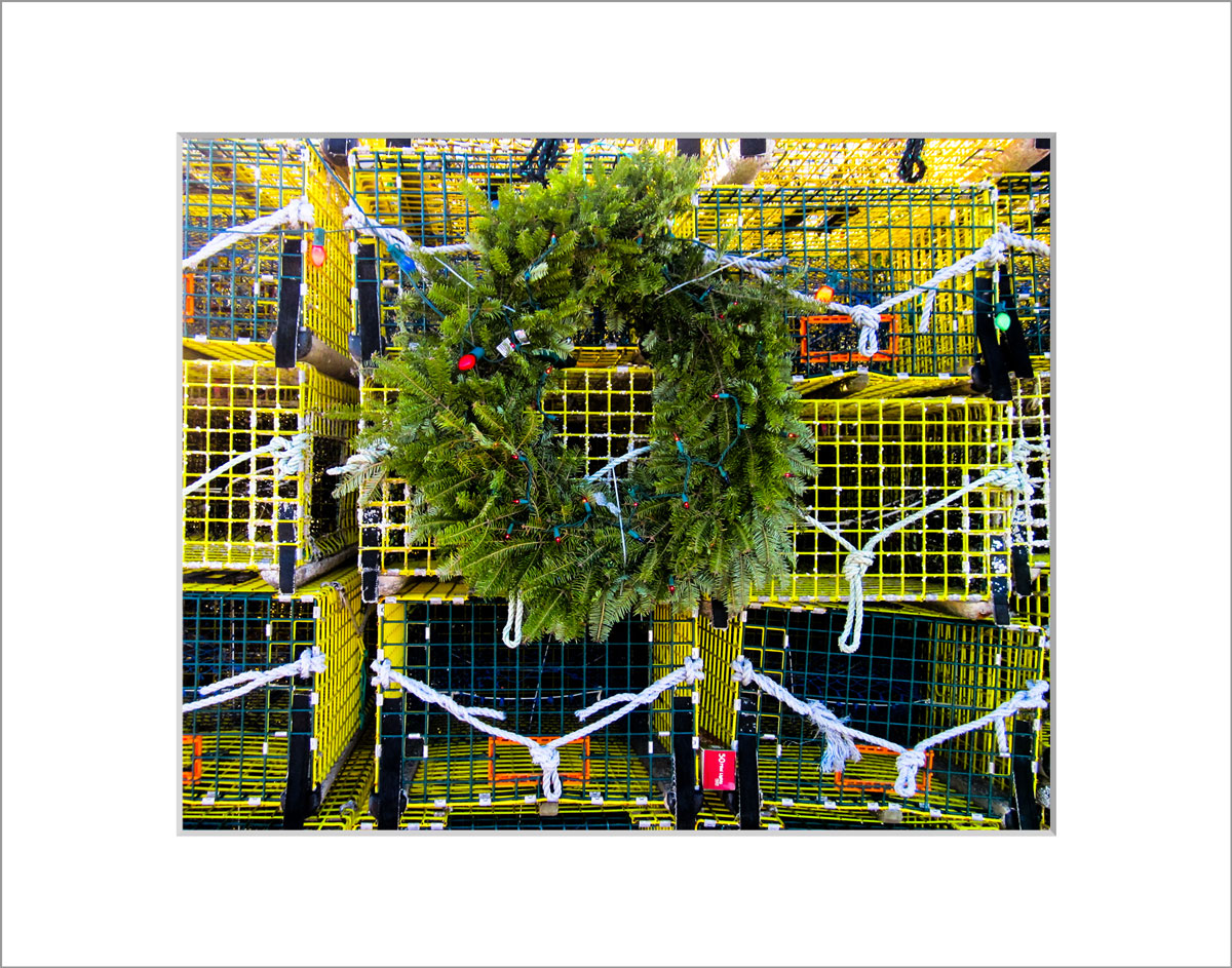 Matted 8x10 Photo: Wreath on Cages