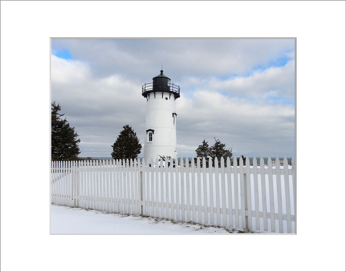 Matted 8x10 Photo: East Chop Lighthouse in the Snow