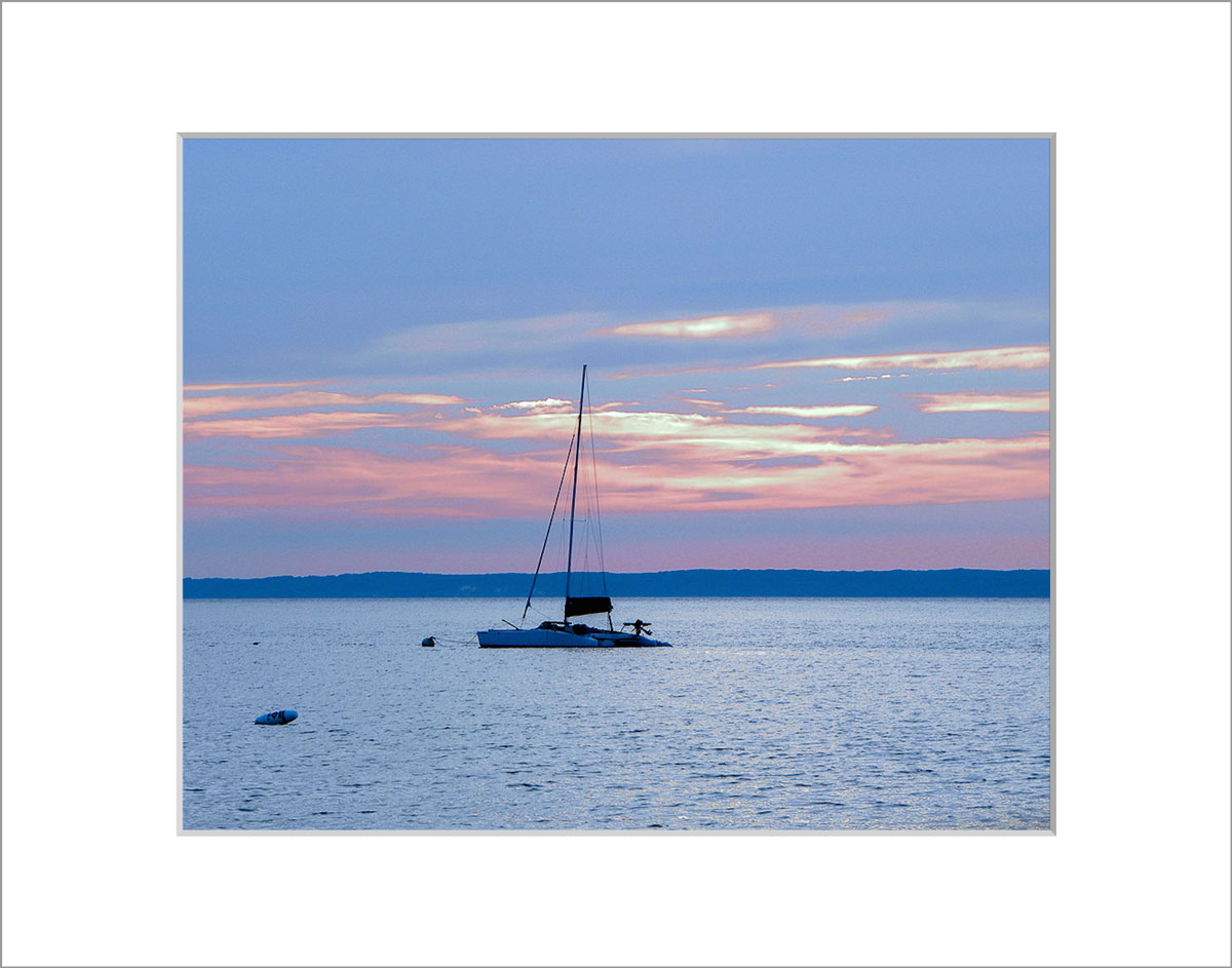 Matted 8x10 Photo: Lambert's Cove Sunset with Boat