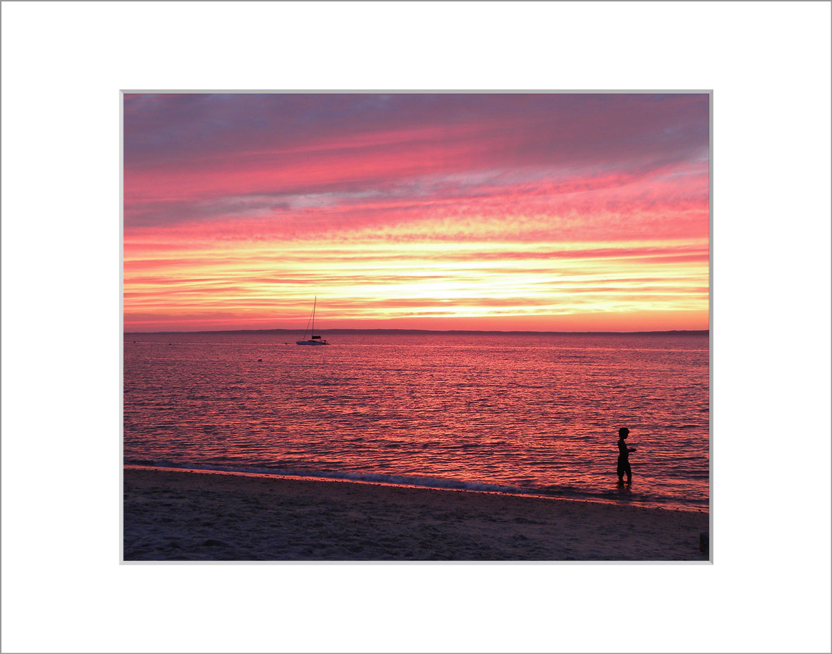 Matted 8x10 Photo: Lambert's Cove Sunset with Boy
