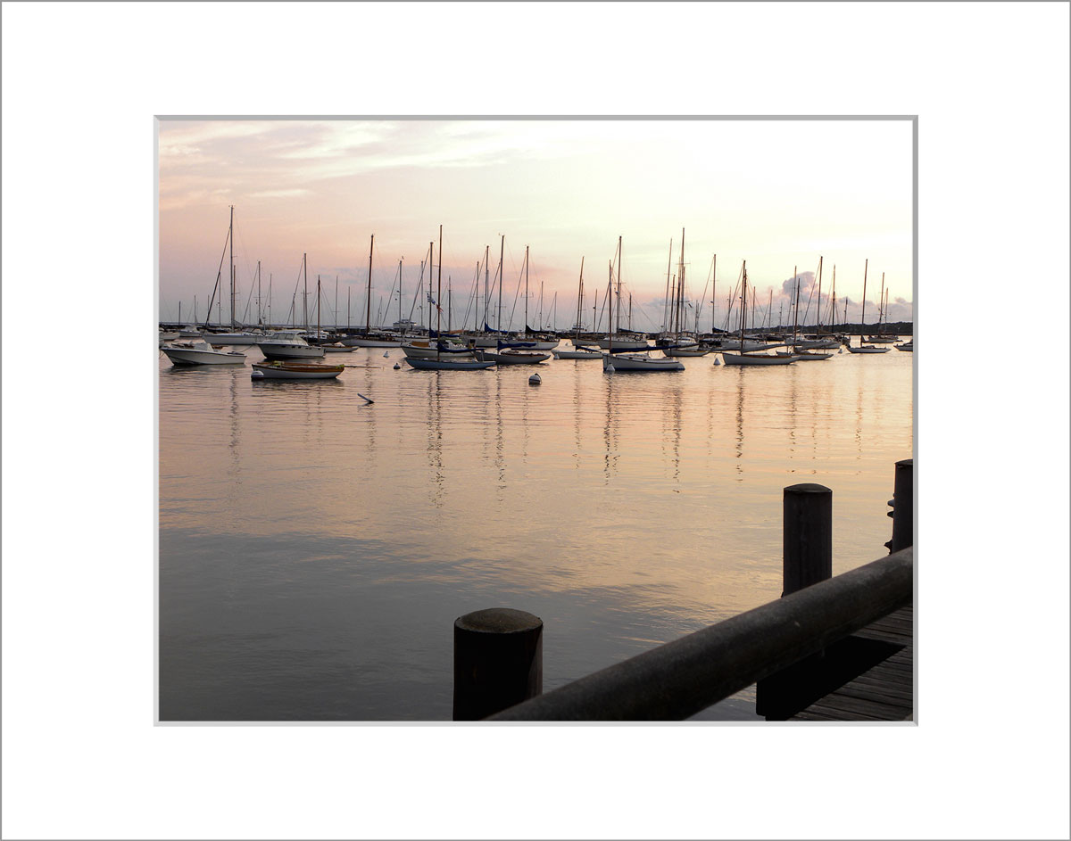 Matted 8x10 Photo: Sunrise Vineyard Haven Harbor