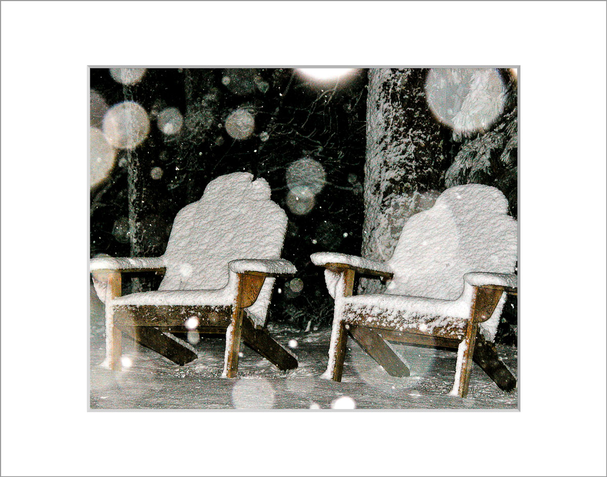 Matted 8x10 Photo: Chairs in Snow