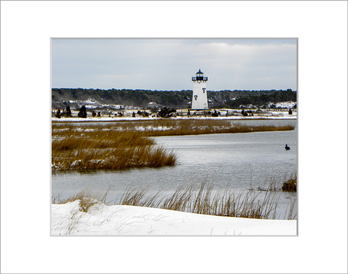 Matted 8x10 Photo: Edgartown Lighthouse in Snow