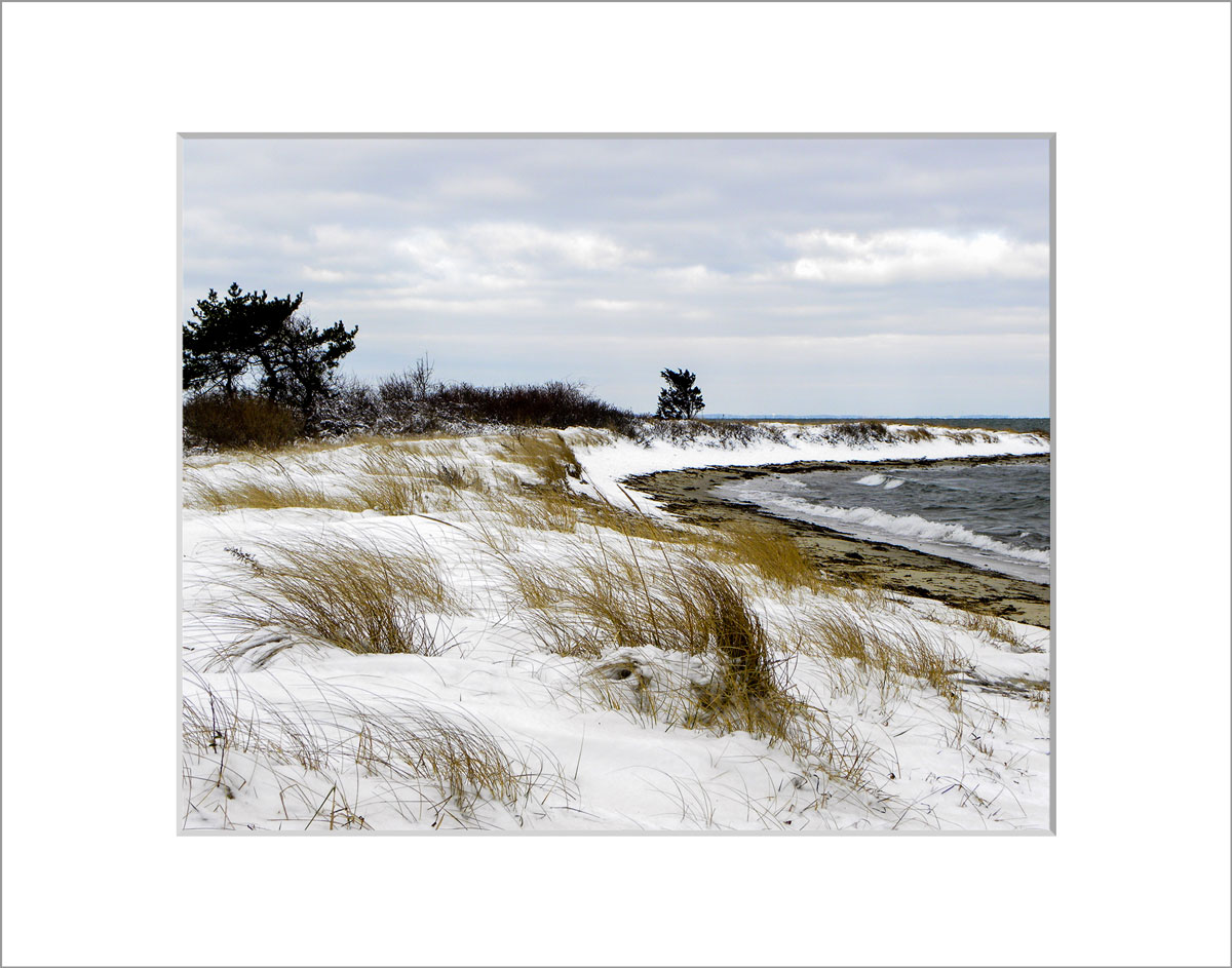 Matted 8x10 Photo: Fuller Street Beach in Snow